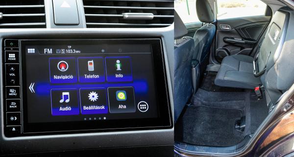 Egyszerűen kezelhető a HondaConnect. Szuper megoldás, ha pakolni kell: a hátsó ülőlapok felhajthatók