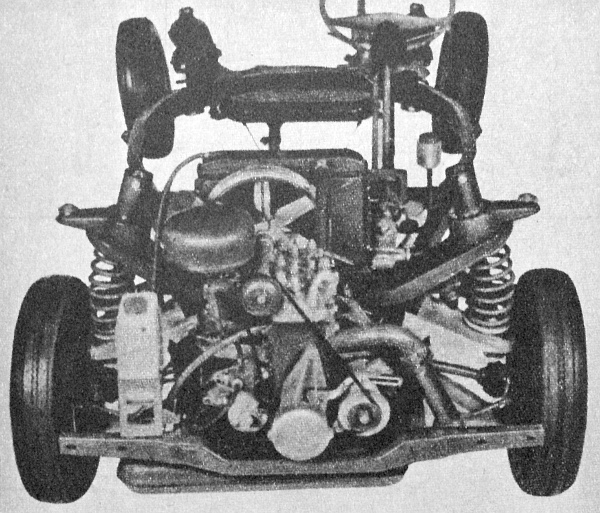 Ilyen az új Wartburg komplett alváza, a háromhengeres kétütemű motorral, a mellsőkerékhajtású futóművel és a magasan támasztott spirálrugókkal