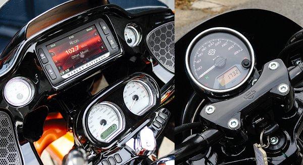 Érintőképernyő és négy körműszer: információbőség a Road Glide műszerfalán. Ennél egyszerűbb már nem is lehetne a Street 750 műszeregysége. A háttérvilágítás narancsszínű!