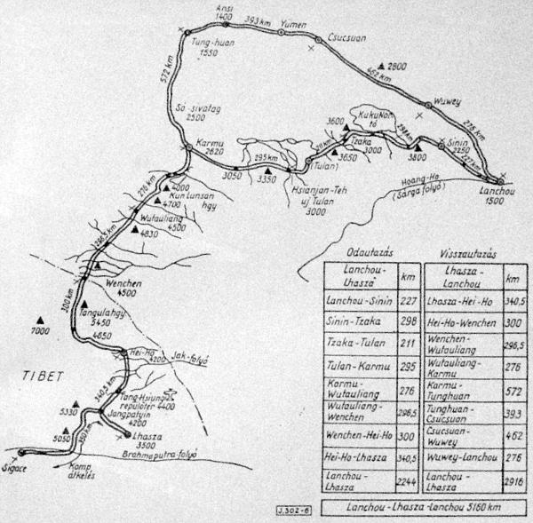 Az expedíció útvonala