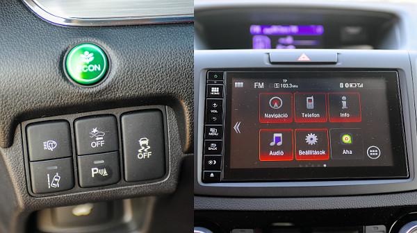 A sávtartó és az ütközésmegelőző rendszer kapcsolóit a volántól balra találjuk. Egyértelmű kezelehetőség jellemzi a HondaConnect rendszert