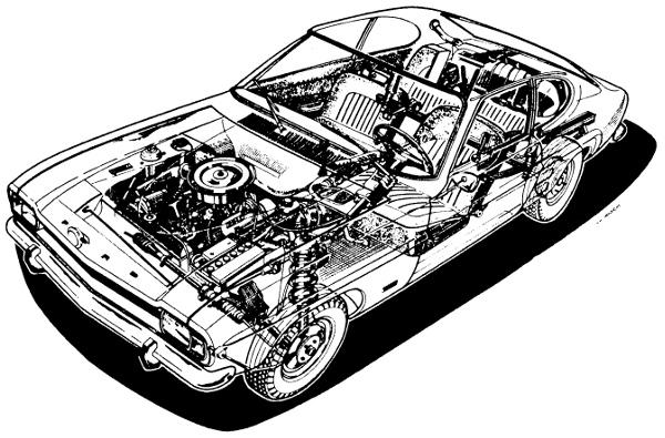 Az alapkivitelt ábrázoló röntgenrajz is jól szemlélteti, hogy a Capri sportkocsi és a családi autó különösen jól sikerült kombinációja