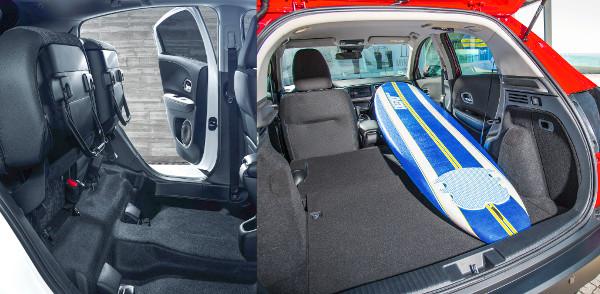 A hátsó ülések lapja felhajtható, így nagyobb álló tárgyakat is szállíthatunk. Ha lehajtjuk az anyósülést, 2,44 méter hosszú lesz a rakfelület