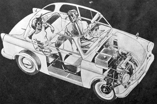 Az alap a P-50 volt. Ebből fejlődött ki a Trabant-sorozat és az első alaptípust mind többet nyújtó, mind komfortosabb változatok követték