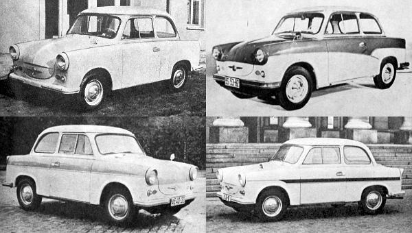 Az 1958 tavaszától készülő Trabant-modellek nagy fejlődésen mentek át. A képek a formai változásokra emlékeztetnek