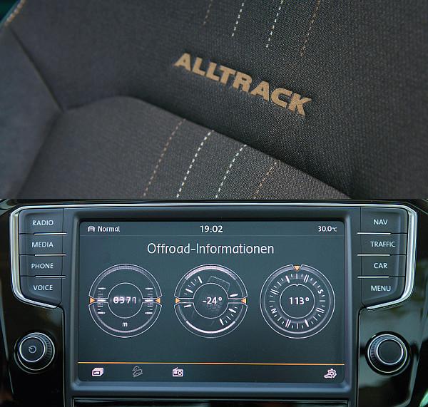 """A különbségek: iránytűvel felvértezett off-road kijelző és """"Alltrack"""" feliratos ülés"""