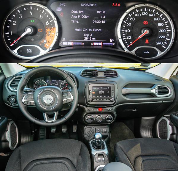"""Sok helyen tetten érhető a Fiat 500X-szel való rokonság. Az utasoldali """"majrévas"""" minden Renegade sajátja. Könnyen leolvasható műszerek és sárfolt-imitáció a fordulatszámmérőben"""