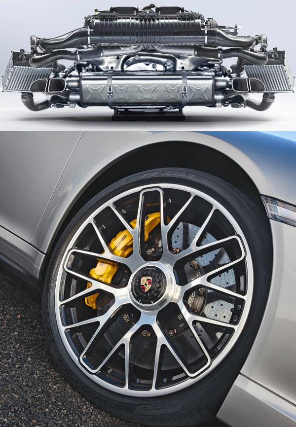 Két turbó tölti az 560 lóerős boxermotort. Központi kerékanyás kerekekkel és kerámiafékekkel hagyja el a gyártósort a Turbo S