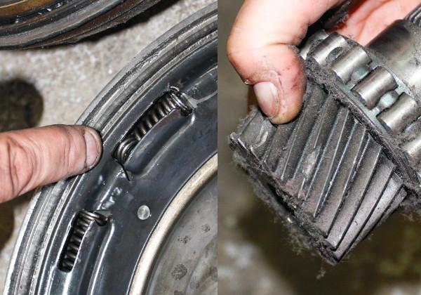 Törött csillapítórugó a szerkezetben - ez sem javítható. Fogaskerék kitört darabbal - cserélni kell (ropog a váltó)