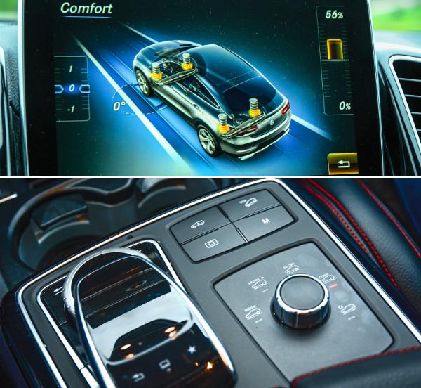 Balra a touchpad, mellette az üzemmódválasztó forgókapcsolója. A bekormányzási szöget is mutatja a kijelző