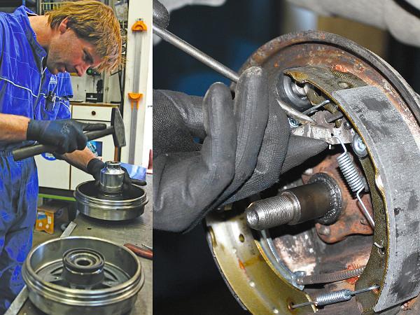 A présgép túlzás lenne, így egy nagy feltűző és kalapács segíti az ABS-gyűrűt, hogy a helyére kerüljön. A fékpofa távolsága a fékdob fékfelületétől ricnis csavarral szabályozható