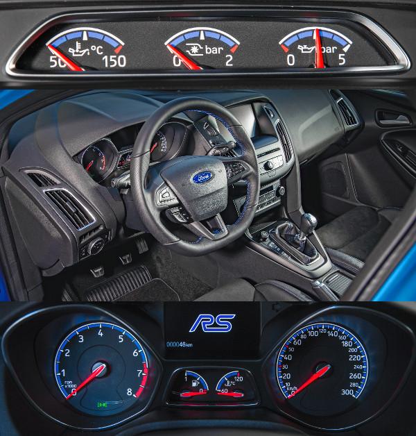 Nem lehet azt mondani, hogy drámai mértékben különbözne a belső a többi Focusétól. A három kiegészítő műszert a sofőr felé fordították. A 300-ig skálázott sebességmérő elsőre túlzásnak tűnik, de az RS 266 km/óráig gyorsulhat