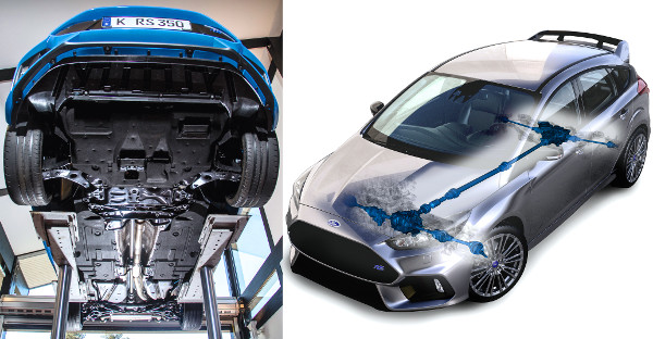 Számos aerodinamikai elem felel az autó hasán a leszorítóerő fokozásáért. Az összkerékhajtás vezérlése 0,06 szekundum alatt képes az oldalankénti nyomaték átcsoportosításra