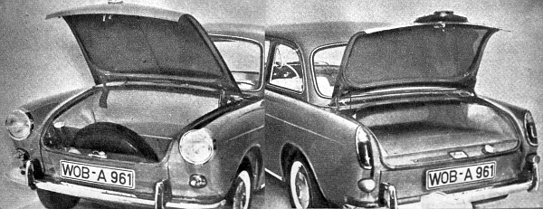"""Mind több gyár kísérletezik """"süllyesztett"""" szerkezetekkel, hogy a kocsi orrában és farában – mint a VW 1500 prototípus fényképei mutatják – egyaránt maradjon még úgynevezett hasznos területe"""