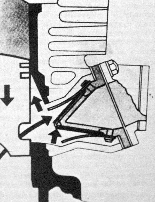 A vezérlés másik módja a rezgőszelep – elzárja a szívócsövet, így a gázok nem szökhetnek vissza a porlasztó irányába