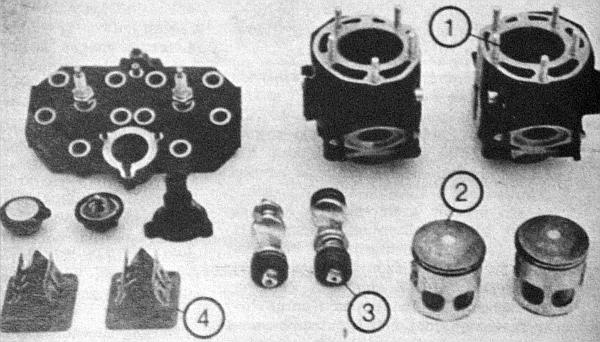 A Yamaha RS 350 YPVS a legmodernebb kétütemű úgyszólván valamennyi megoldását felvonultatja. Íme: a henger (1), a dugattyú (2), a kipufogószelep (3), a rezgőszelep (4)