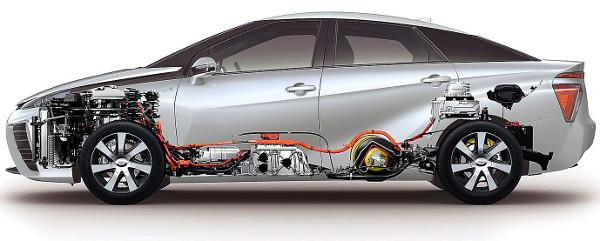 Az első ülések alatt lapul az üzemanyagcella, hátul pedig az akkumulátor. A váltakozó áramú, állandó mágneses villanymotor a Lexus RX 450h-ból származik