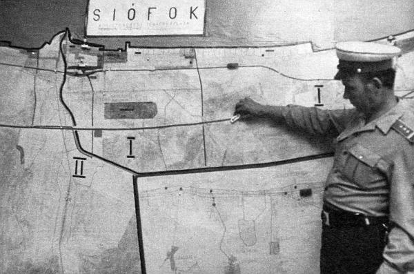 Demonstrációs térkép a siófoki közlekedésrendészet rádiós központjában