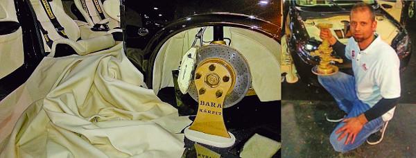 """Porsche-származék a technika. A kiállításokhoz külön állványokat készíttettek. Bara Laci: """"Külön köszönet Hudák Zsoltinak, Kocséri Lacinak és Tar Andrásnak!"""""""