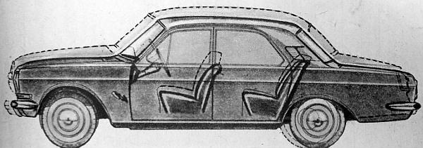 Előtérben a 24-es, a háttérben körvonalazva a jól ismert 21-es Volga. A rajzon szemléltetik mind a forma, mind a méretezés különbözőségét. Látjuk az újabb konstrukció nyújtott tengelytávolságát