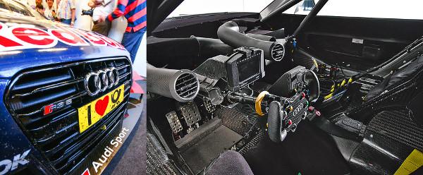Márkajelzések és szellőzőnyílások – ennyi széria alkatrész van egy DTM versenyautóban. Fotó: Lővei Gergely és Audi