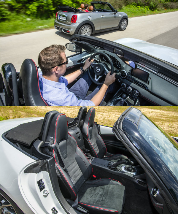 Modern az MX-5-ös belseje, a retró hangulat a koncepcióban rejlik. Jobban tartanak, de szűkebbek is a Recaro ülések. Kevés a hely