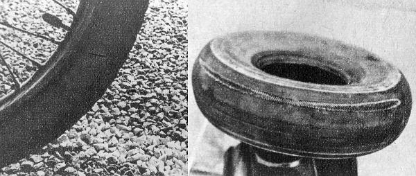 """A különben sima, se a gumik szempontjából kegyetlen útfelület, amely gyakran futott a fogatunk alatt, bizony """"megzabálta"""" a köpenyeket. A vászonig kopott az utánfutó gumija"""