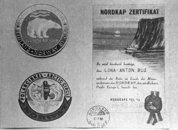 A finnországi és a norvégiai sarkkör átlépésének emlékjelvénye – és a Nordkapp elérésének emléklapja