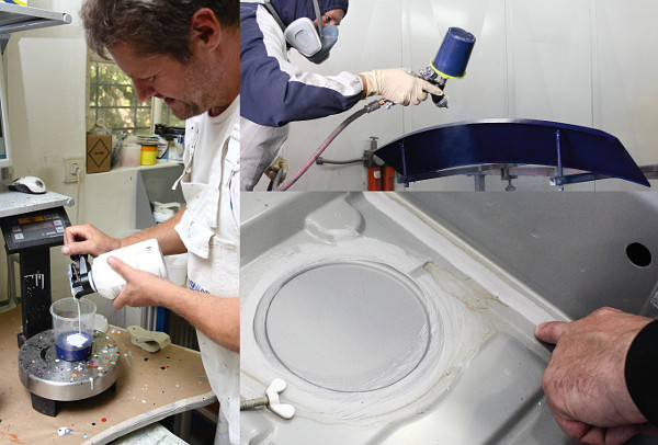 A javítóanyagot természetesen a gyári színkód alapján keverik ki, a leszerelt elemek fújása könnyebb, mintha a kocsin kéne körbemaszkolni. A belső részeken javítások esetén nagyon fontos a varratvédelem helyreállítása