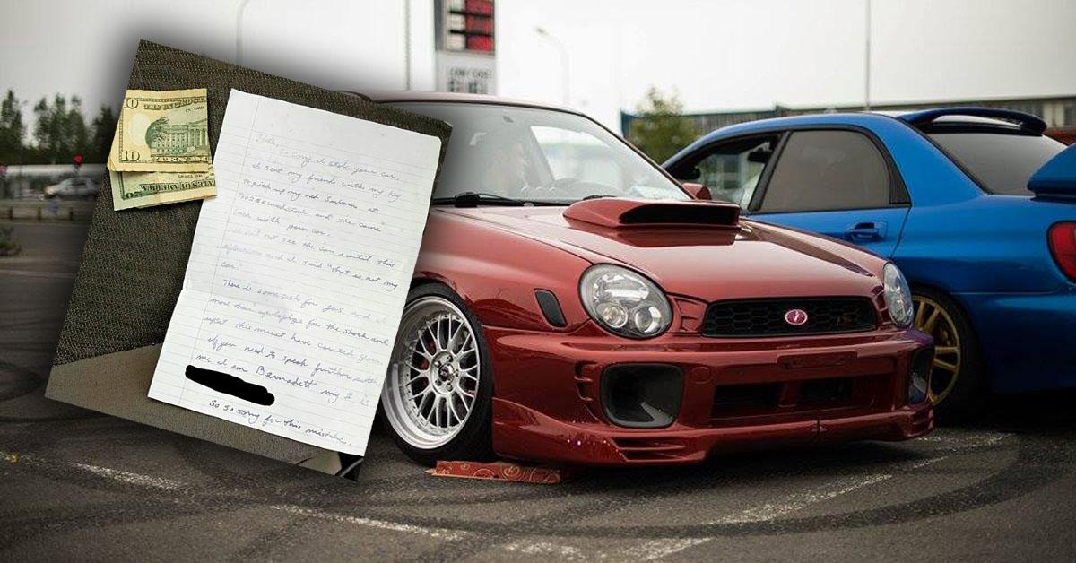 Ellopták a Subarut, másnap visszahozták – ez a levél volt csatolva mellé! – KÉP