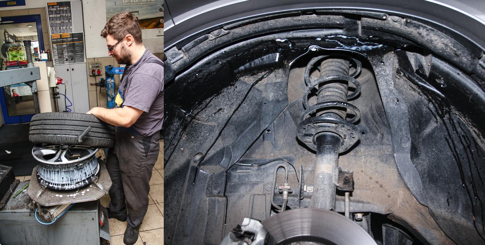 Hát ez az átlagosnál is koszosabb gumiszerelés, a forgó kerék folyamatosan verte ki a defektjavítót - minden mocskos lett. Fotó: Dombóvári Mihály
