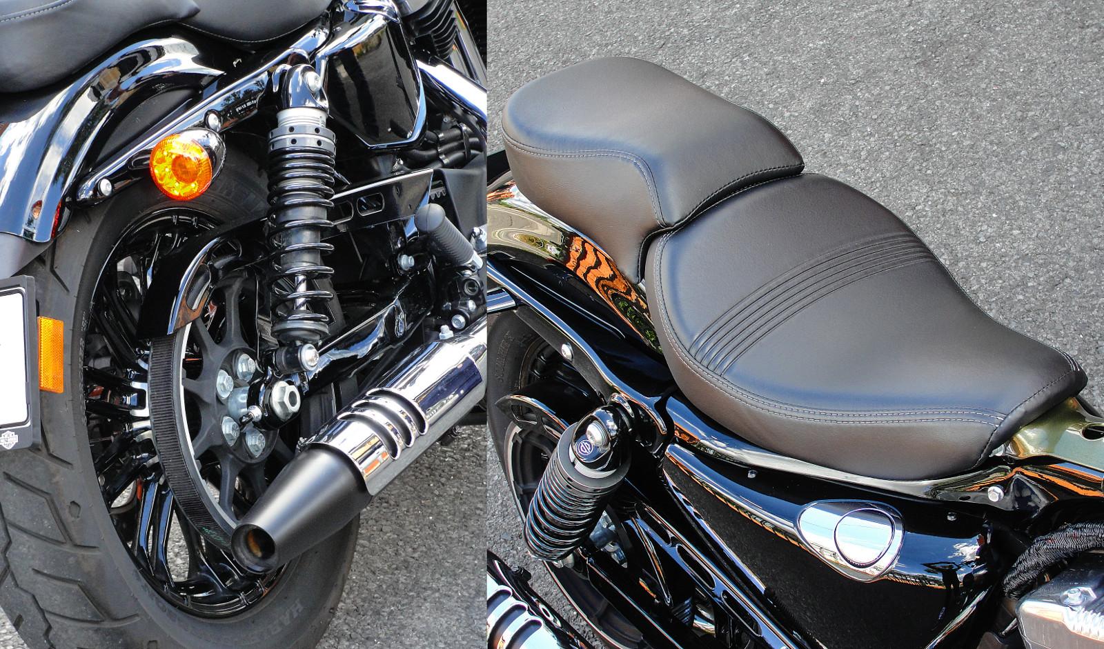 Tipikus Harley: szíjhajtás és szivarvégre emlékeztető kipufogó. Kétüléses kivitelben is elérhető a Forty-Eight, de a hátsó ülés egészen apró