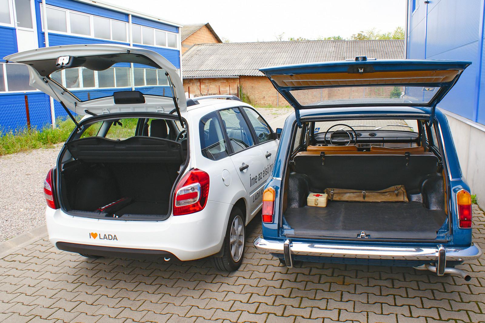 40 év választja el egymástól a két Lada kombit. A Fiat 124 Familiare szovjet változatába 345, a Kalinába 355 liternyi csomag fér. Fotó: Lővei Gergely és Balogh Bence