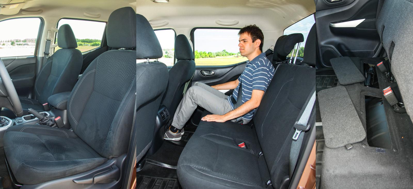 Kényelmes, pedig nem sokat tart az ülés. Sok a hely hátul, de alacsonyra került az ülőlap. Csomagtartó híján felhajtható a hátsó ülés
