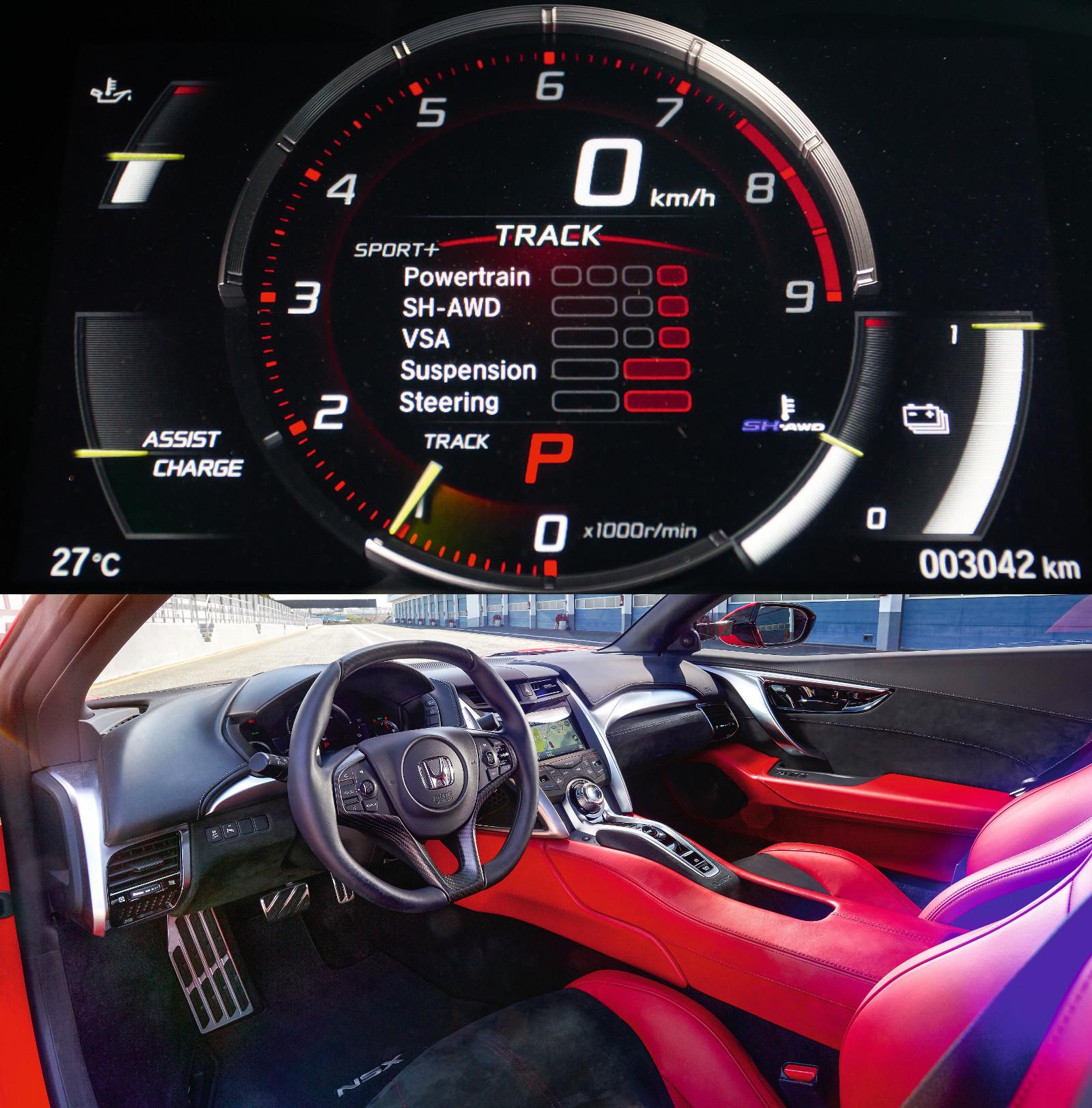 Az egyes üzemmódoknak megfelelően változik a műszerfal grafikája. Öncélú formai megoldások helyett a funkcionalitásra helyezte a hangsúlyt a Honda