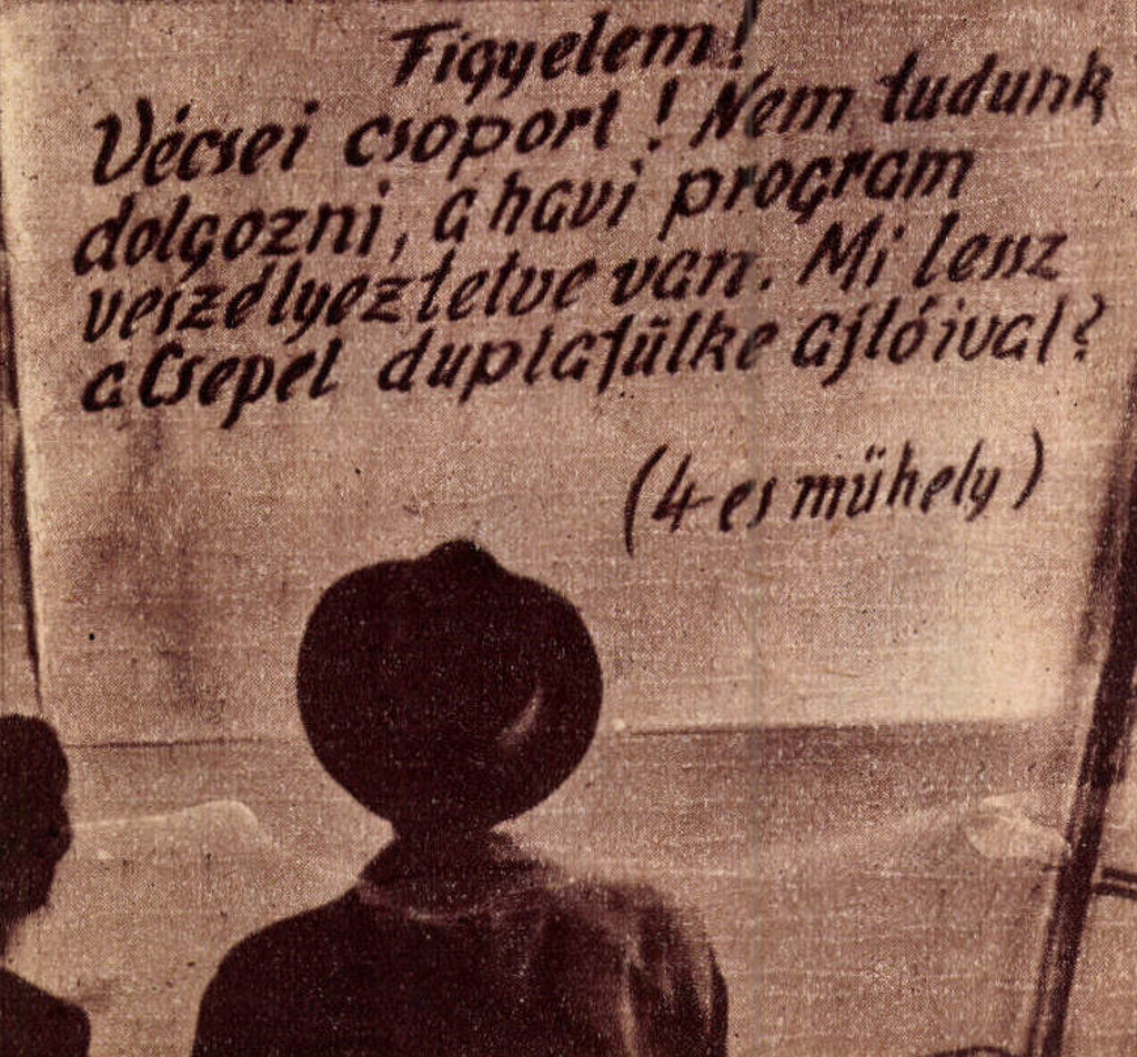 """A 4-es műhely """"üzenetét"""" elsőnek Vécsei Rafael csoportvezető olvassa"""