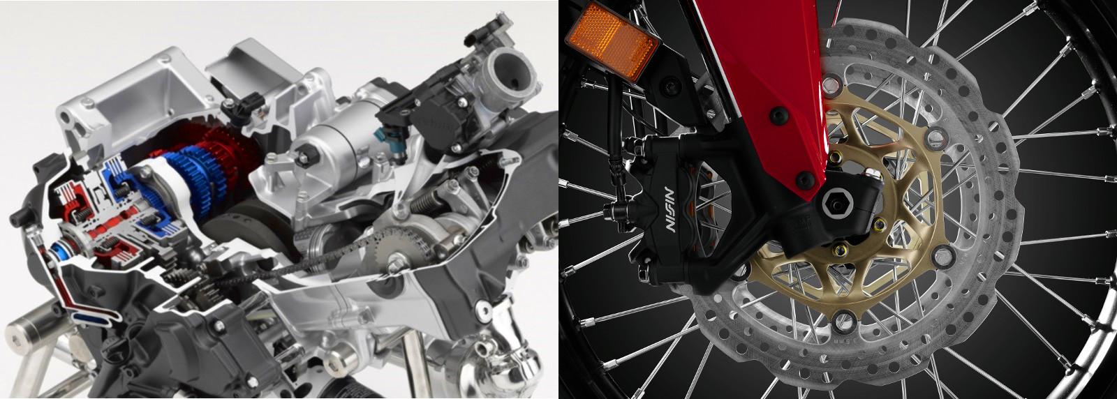 Egy házban helyezkedik el a soros kéthengeres blokk és a duplakuplungos sebességváltó. A 310 mm-es első féktárcsákkal hatásosan lassít az Africa Twin. Az ABS kikapcsolható