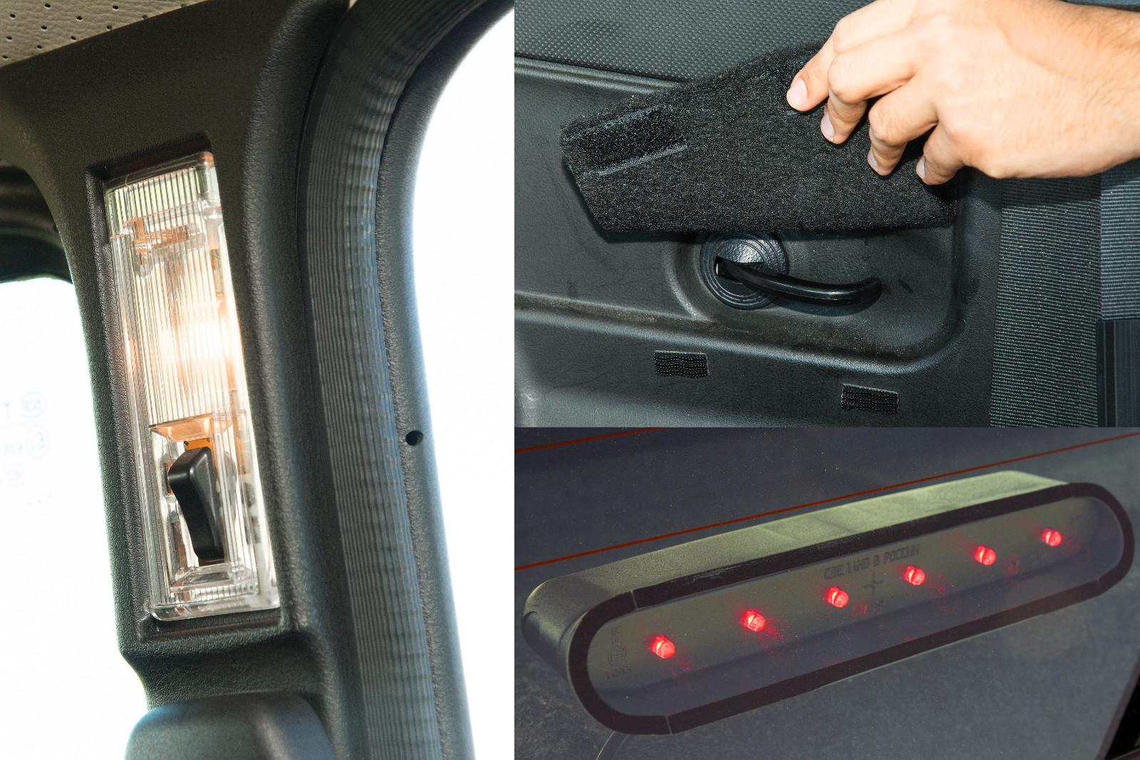 Tépőzáras filc takarja a csomagtérnyitót. Régi a belső világítás, új az üvegre ragasztott, barkácsolt hatást keltő pótféklámpa