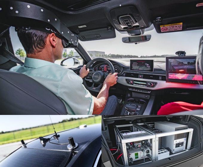 A Virtual Training Car mozgását kétcentis pontosságú, precíziós GPS követi A csomagtartóban kiépített rendszer révén az autó szenzorai a virtuális valóságot érzékelik, így bemutatható a vezetést segítő kiegészítők működése